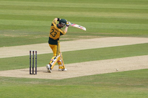 The Australian national team bats against the English national team at The Oval, a cricket ground in England.